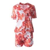 LOUIS & LOUISA Pyjama Set, Lieblingsblumen, geknöpft, Coralle
