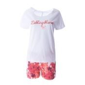 LOUIS & LOUISA Pyjama Set, Lieblingsblumen, kurz, Weiß