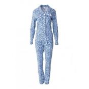 LOUIS & LOUISA Pyjama Küss mich Wach Knopfleiste, Blau