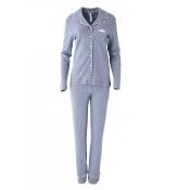 LOUIS & LOUISA Pyjama Süß Verpackt Knopfleiste, Grau
