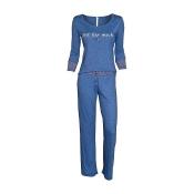 LOUIS & LOUISA Pyjama Zeit für Mich einfarbig, Blau