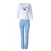 LOUIS & LOUISA Pyjama Zeit zum Träumen Lang, Weiß