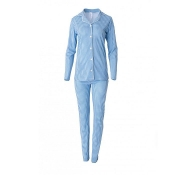 LOUIS & LOUISA Pyjama Zeit zum Träumen Knopfleiste kariert, Hellblau