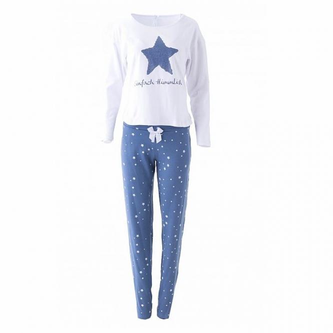 LOUIS & LOUISA Pyjama Einfach Himmlisch, Stern, Weiß